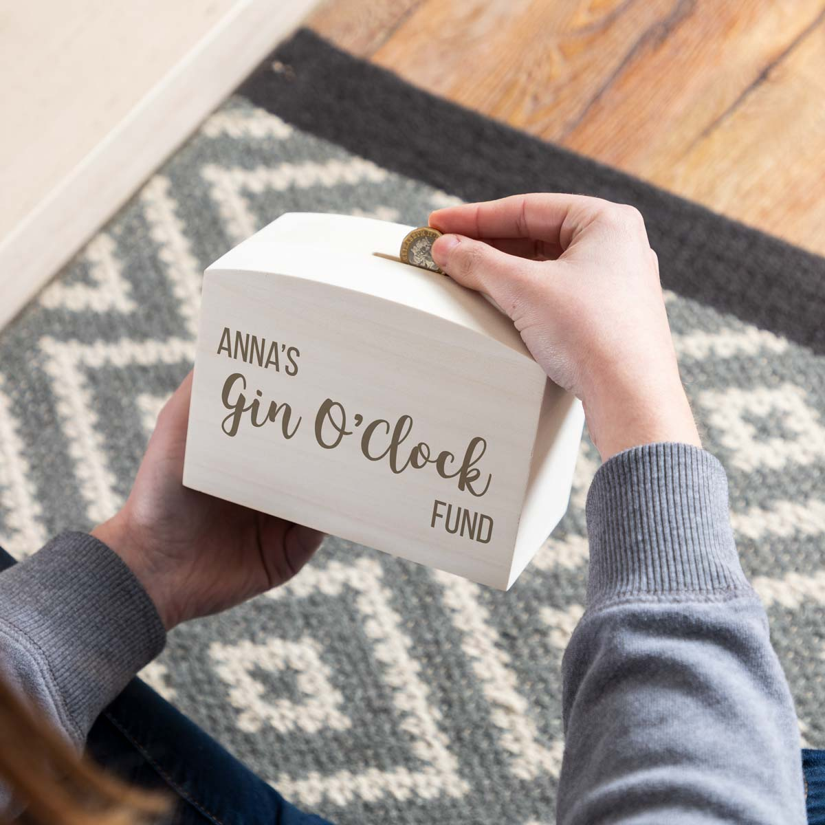 Personalised Gin O'Clock Fund Money Box