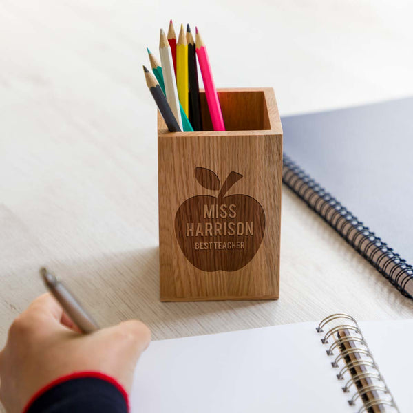 Personalised Best Teacher Pen Pot Gift