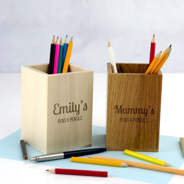 Personalised Wooden Pen and Pencil Pot