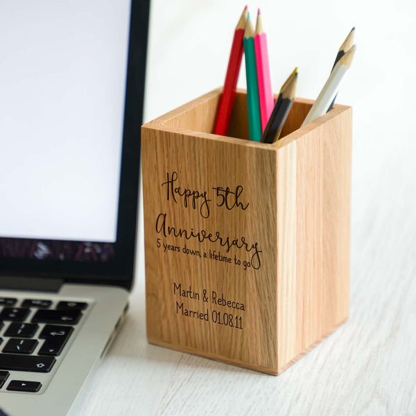 Personalised 5th Anniversary Pen Pot