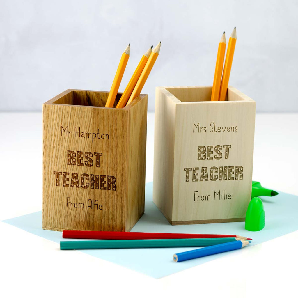 Personalised Best Teacher Gift Pen Pot