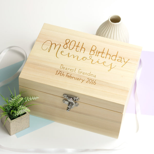 Personalised 80th Birthday Keepsake Box