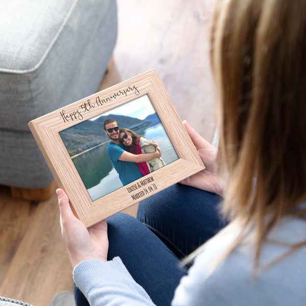 Personalised 5th Anniversary Wood Photo Frame