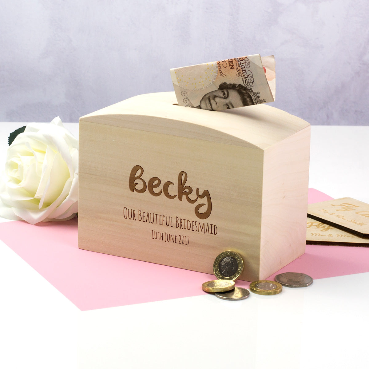 Personalised Bridesmaid Money Box Gift