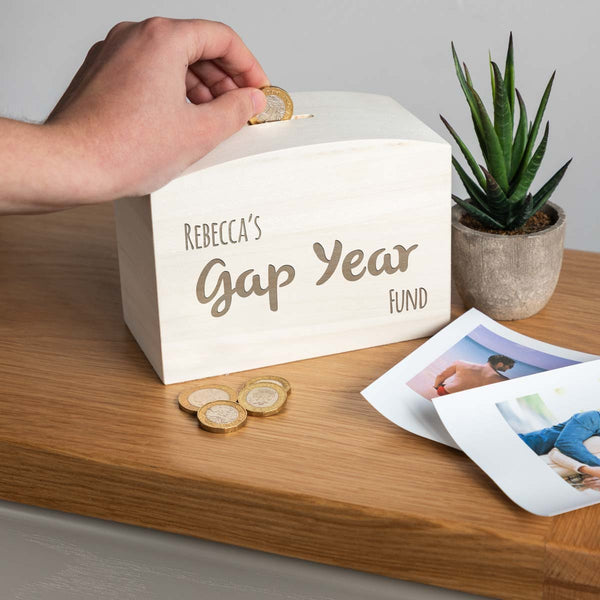 Personalised Gap Year Fund Money Box Graduation Gift