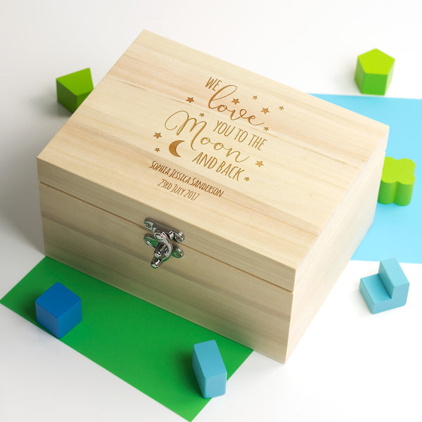 Personalised We Love You To The Moon and Back Keepsake Box