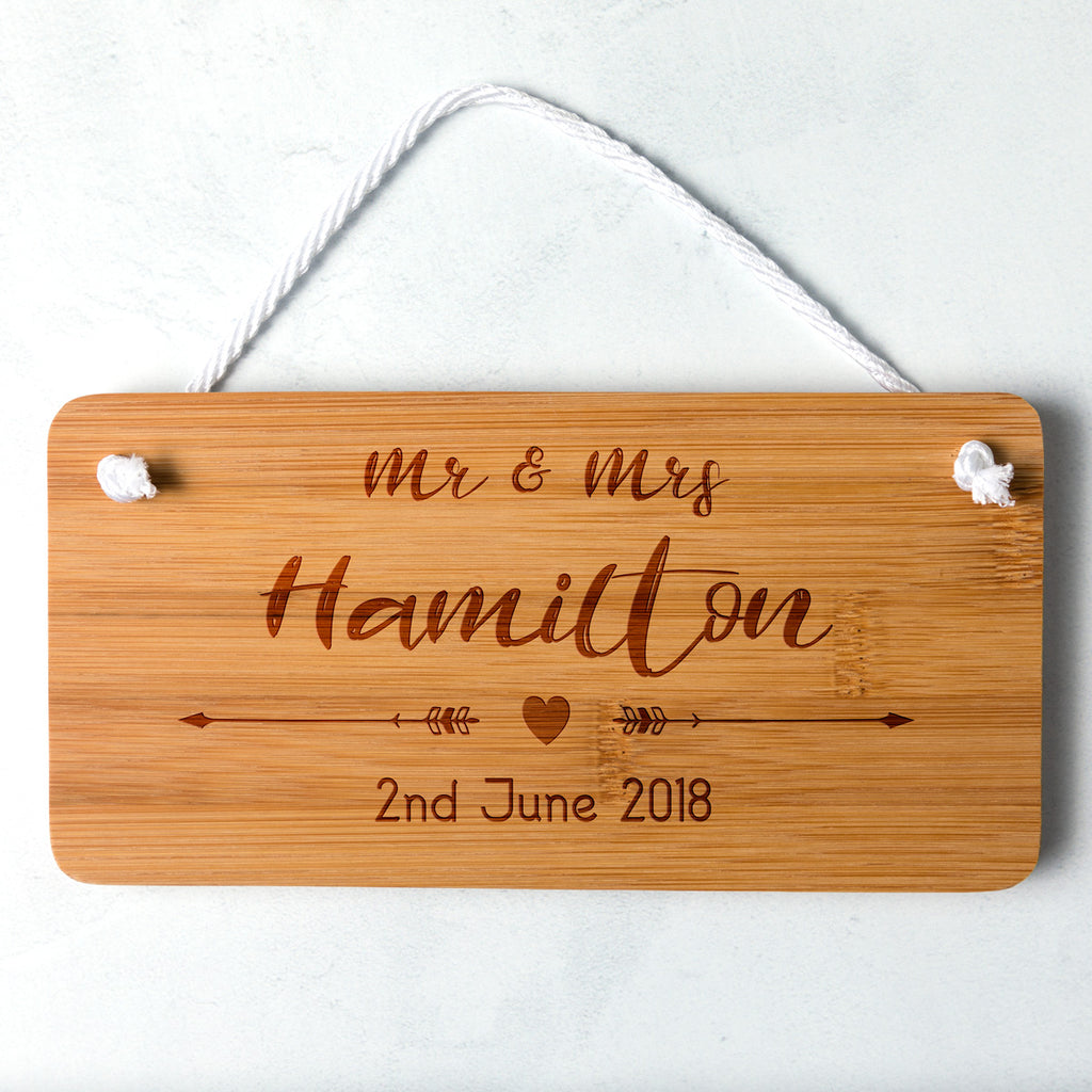 Personalised Wedding Sign Made From Bamboo
