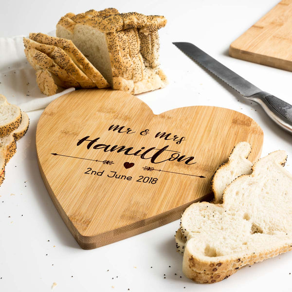 Personalised Heart Shaped Bamboo Serving Board