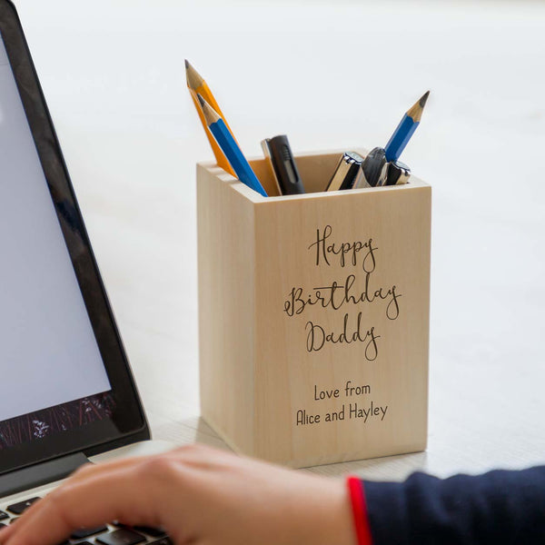 Personalised Happy Birthday Wooden Pen Pot