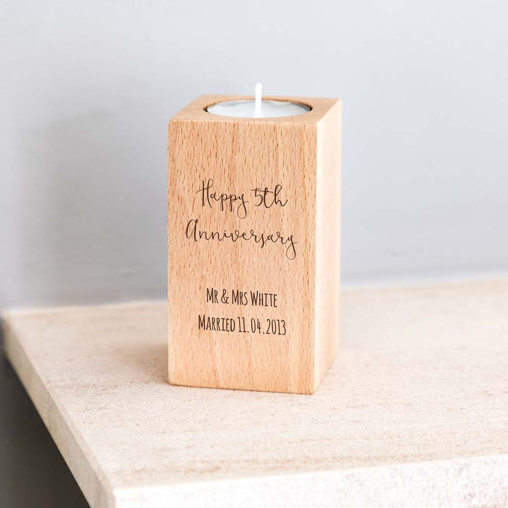 Personalised 5th Anniversary Wood Candle Holder