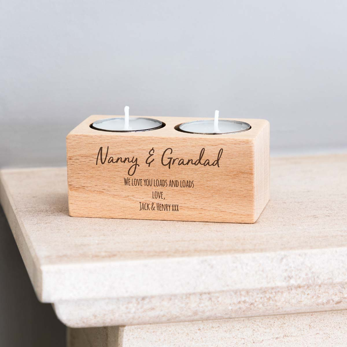 Personalised Gift For Grandparents Candle Holder