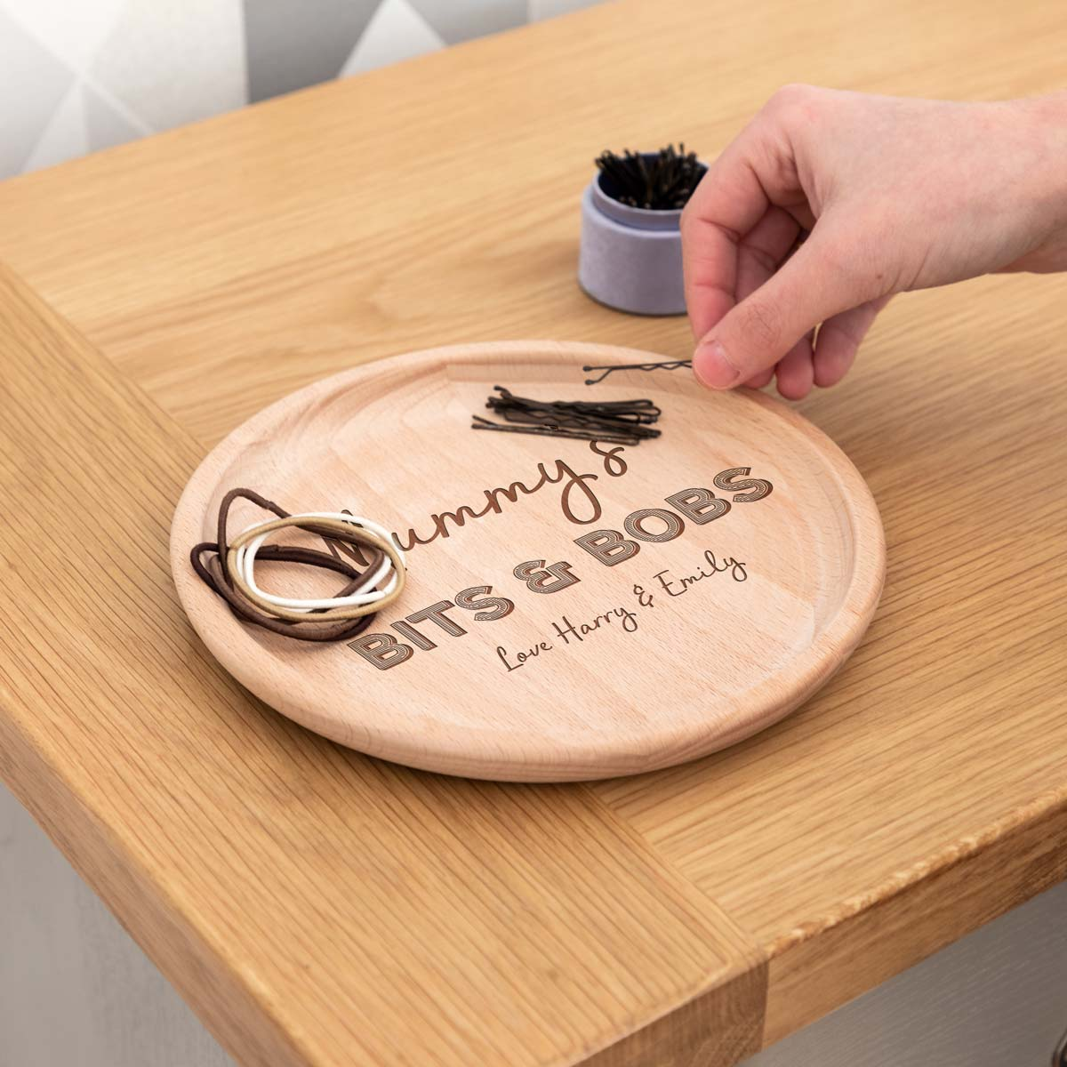 Personalised Wood Coin Holder