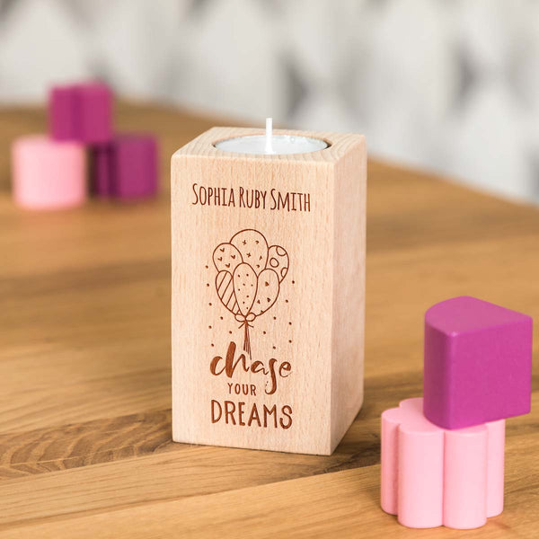 Personalised Chase Your Dreams Inspirational Candle Holder