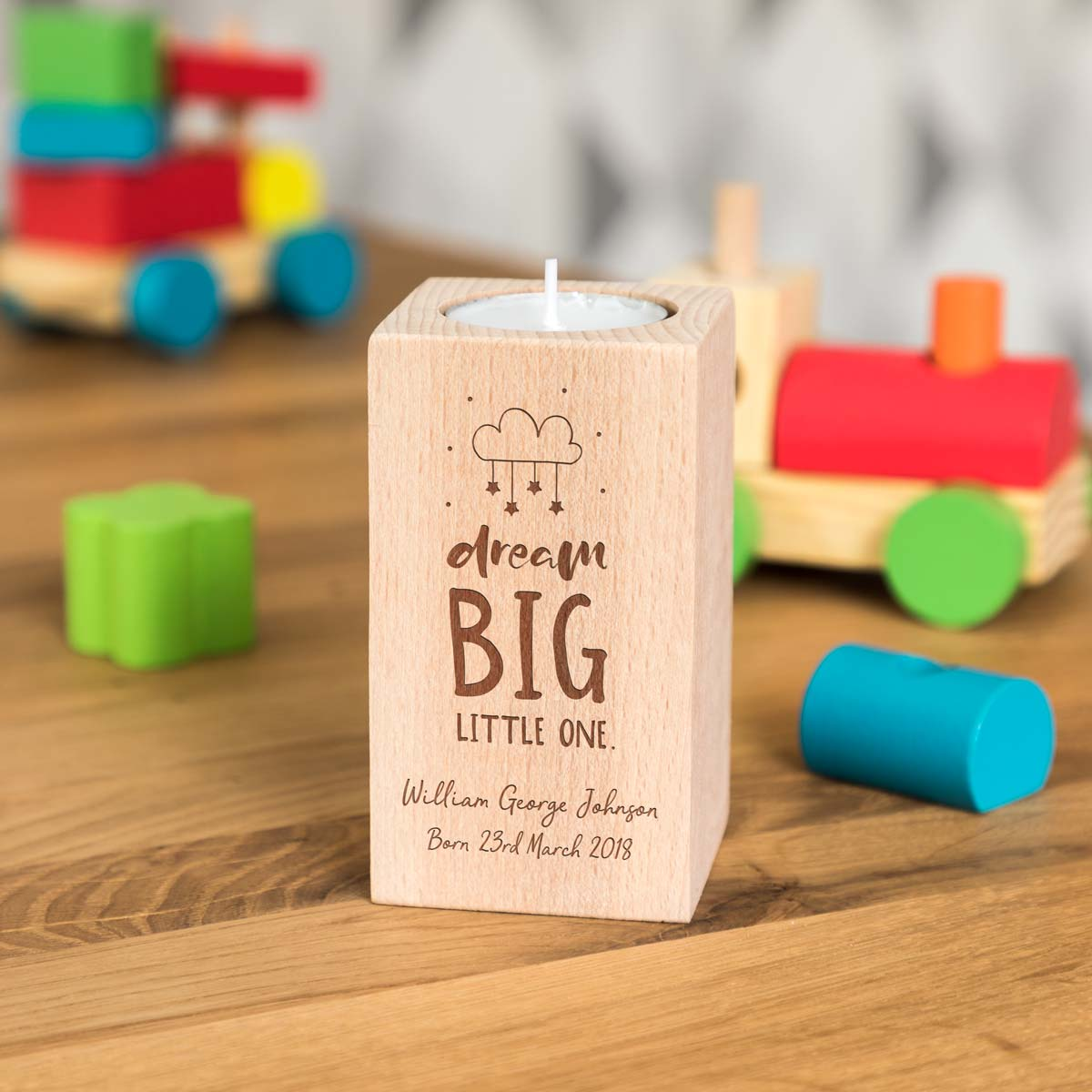 Personalised New Baby Candle Holder Gift