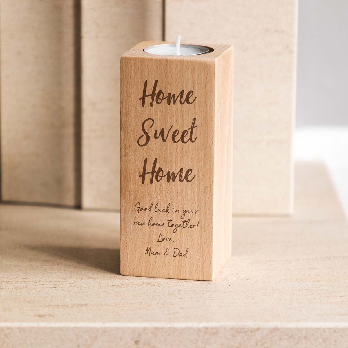 Personalised Home Sweet Home Candle Holder