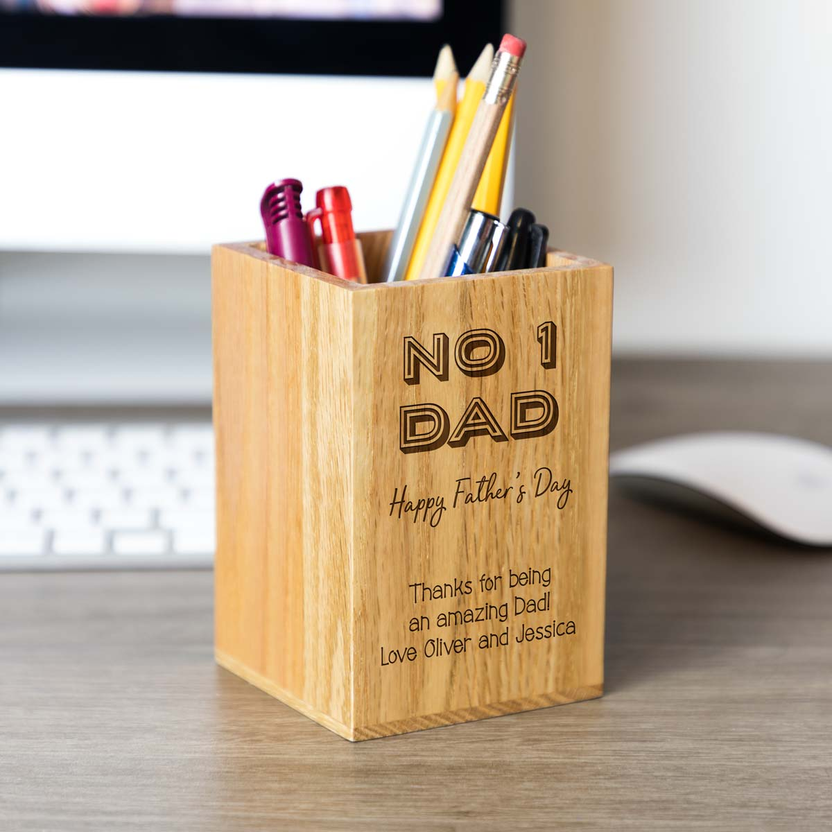 Personalised Number 1 Dad Pen Pot Gift
