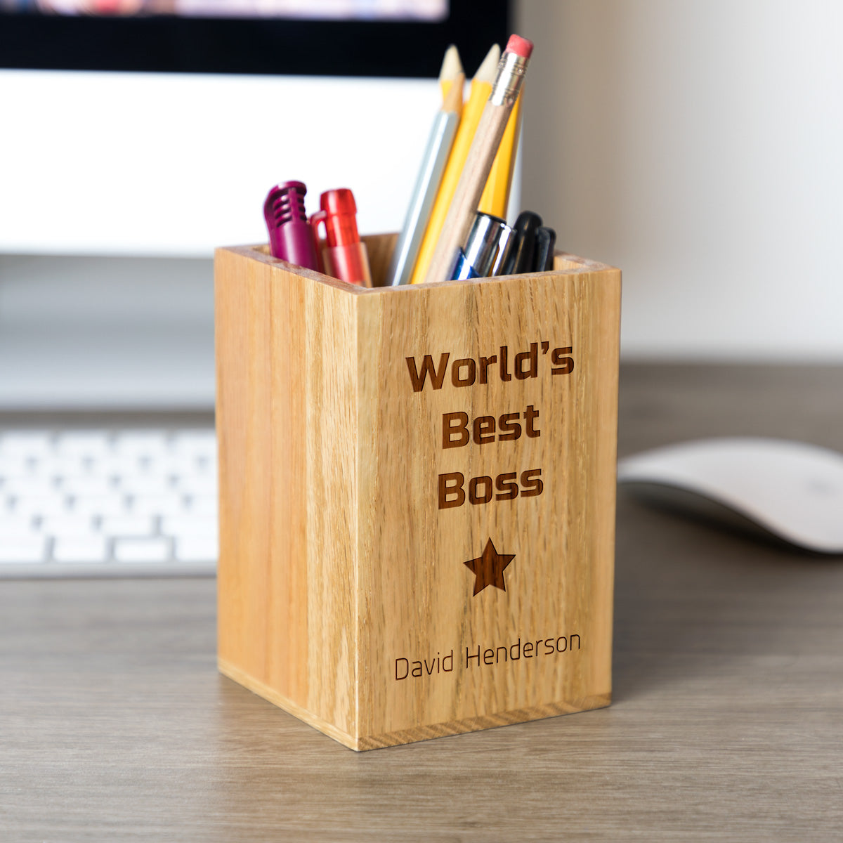 Personalised Best Boss Pen Pot Gift