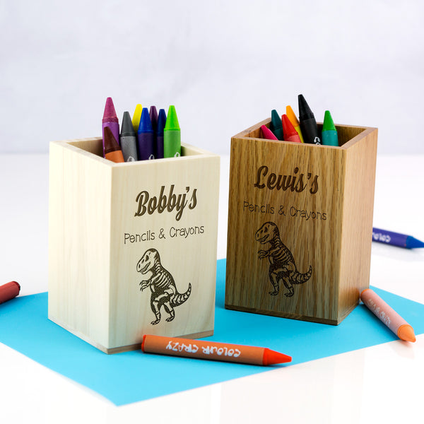 Personalised Dinosaur Pencils and Crayons Pot