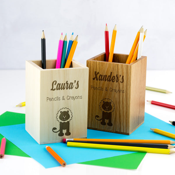Personalised Lion Pencils and Crayons Pot For Children