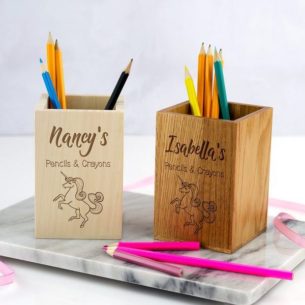 Personalised Unicorn Pencils and Crayons Pot For Children