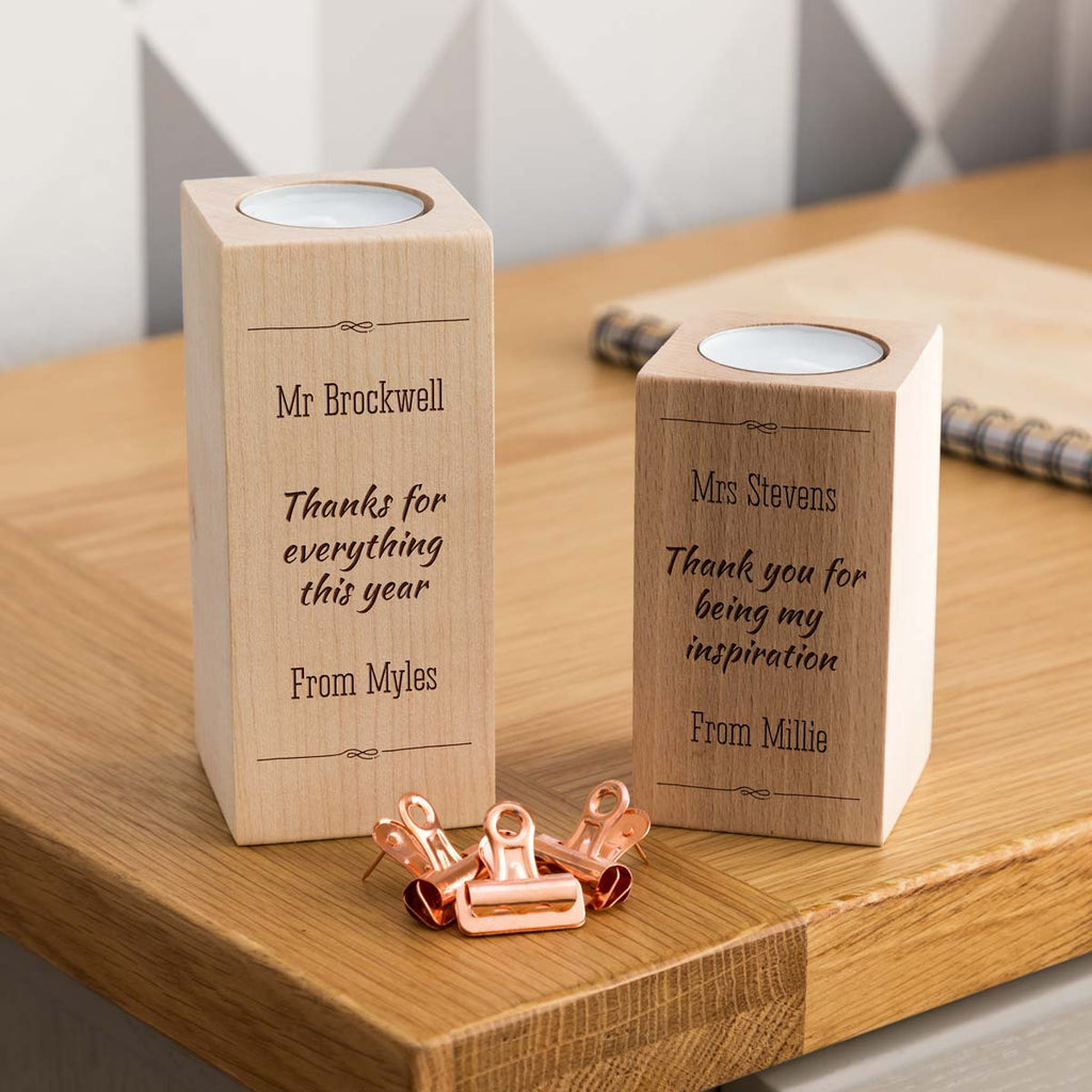 Personalised Best Teacher Gift Candle Holder With Message