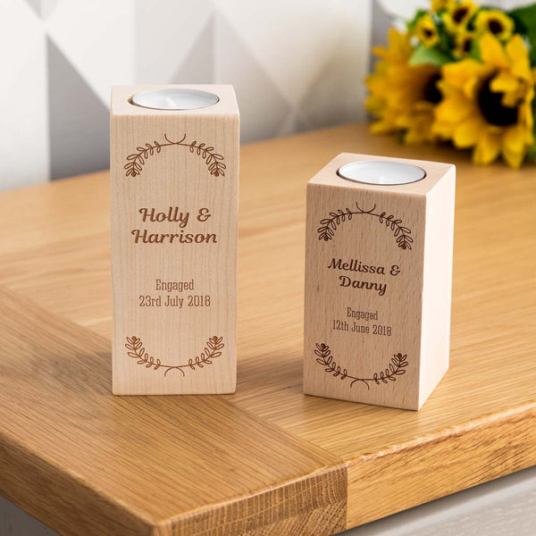 Personalised Engagement Gift Candle Holder