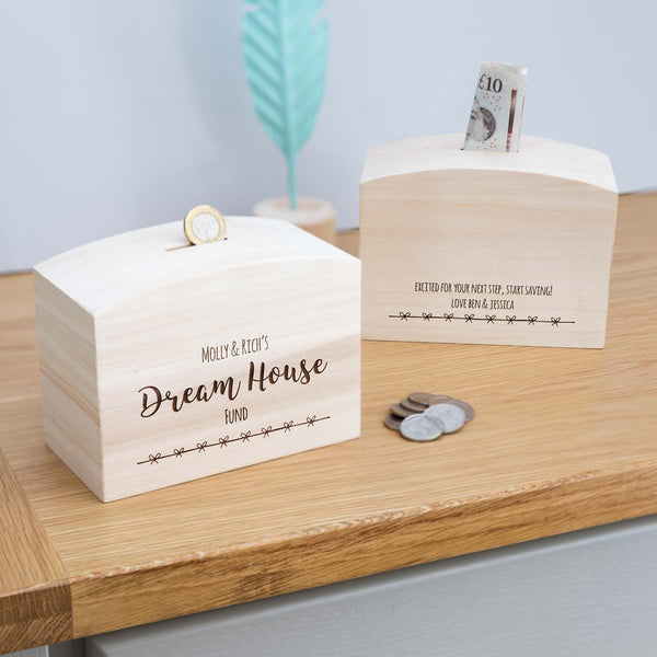 Personalised Dream House Fund Money Box With Message