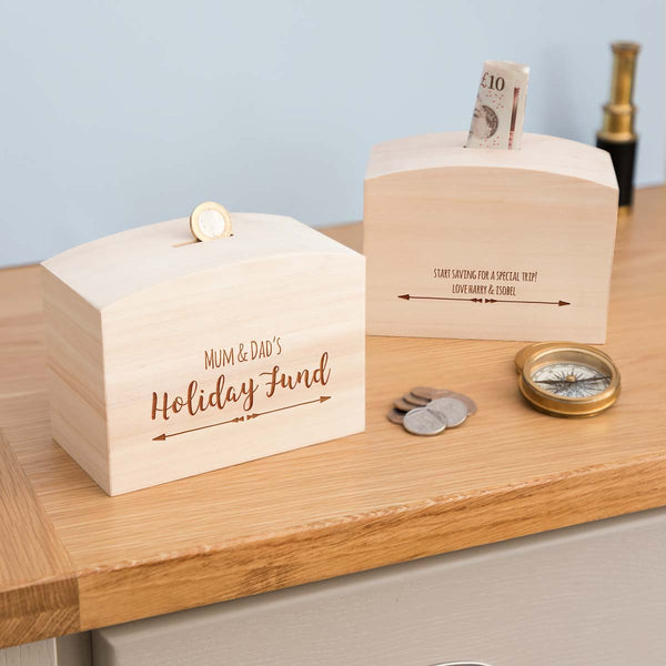 Personalised Holiday Fund Money Box With Message