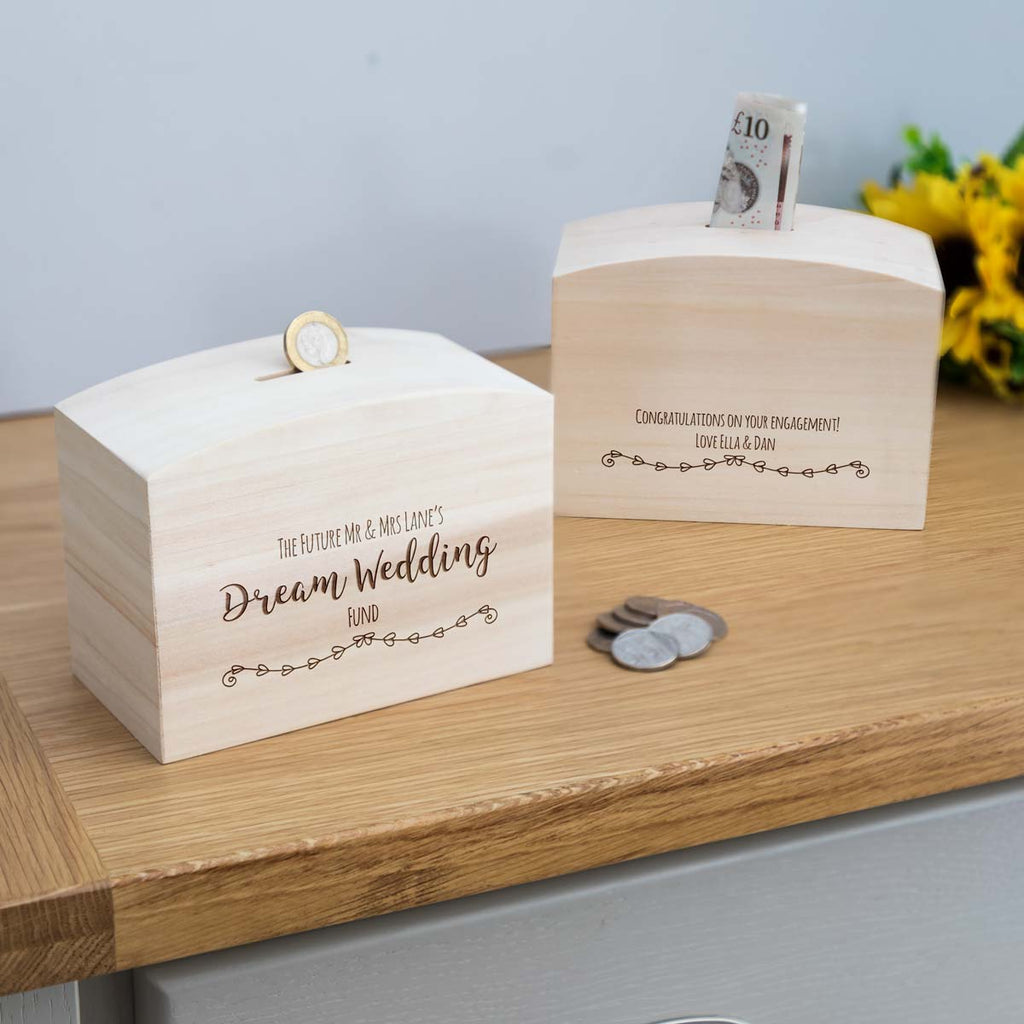 Personalised Dream Wedding Fund Money Box With Message