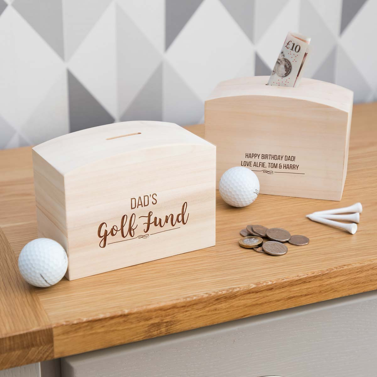 Personalised Golf Fund Money Box With Message