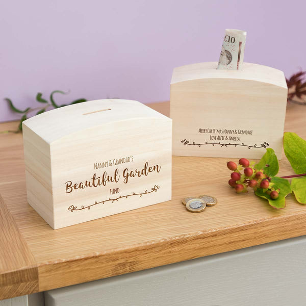 Personalised Garden Fund Money Box Gift For Grandparents