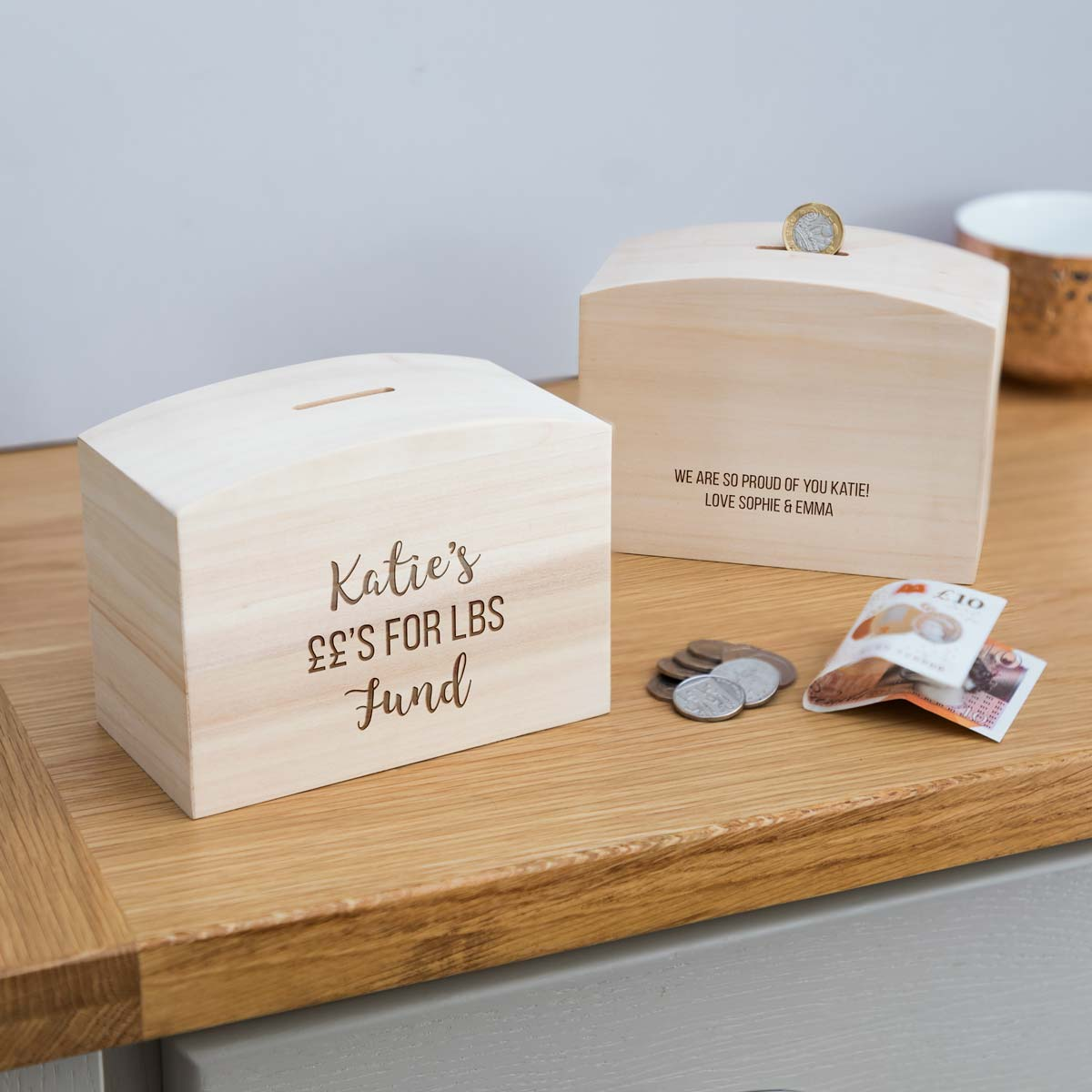 Personalised Pounds For Lbs Weight Loss Money Box With Message