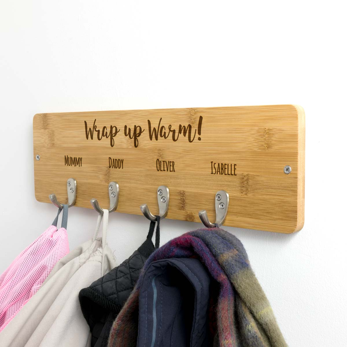 Personalised Wrap Up Warm Coat Hook