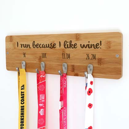 Personalised I Run Because I Like Wine Medal Holder