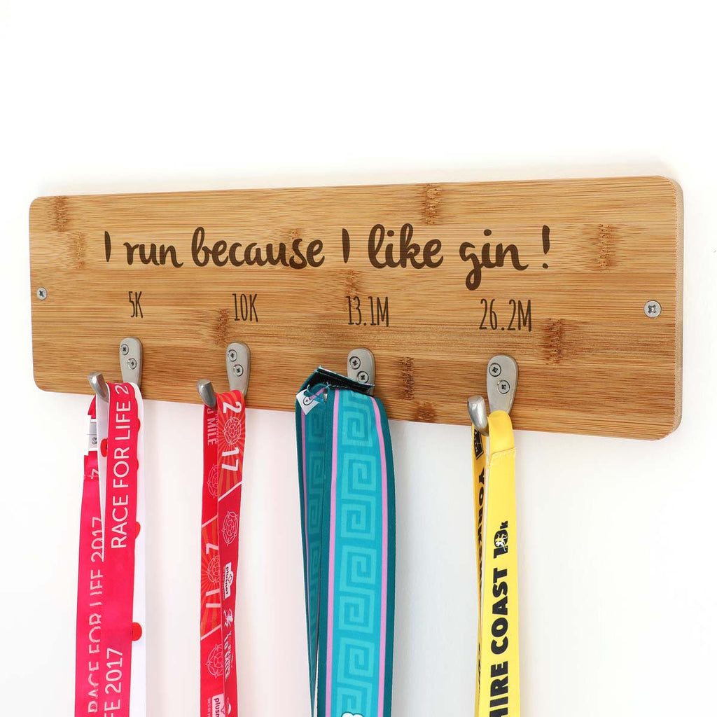Personalised I Run Because I Like Gin Medal Holder