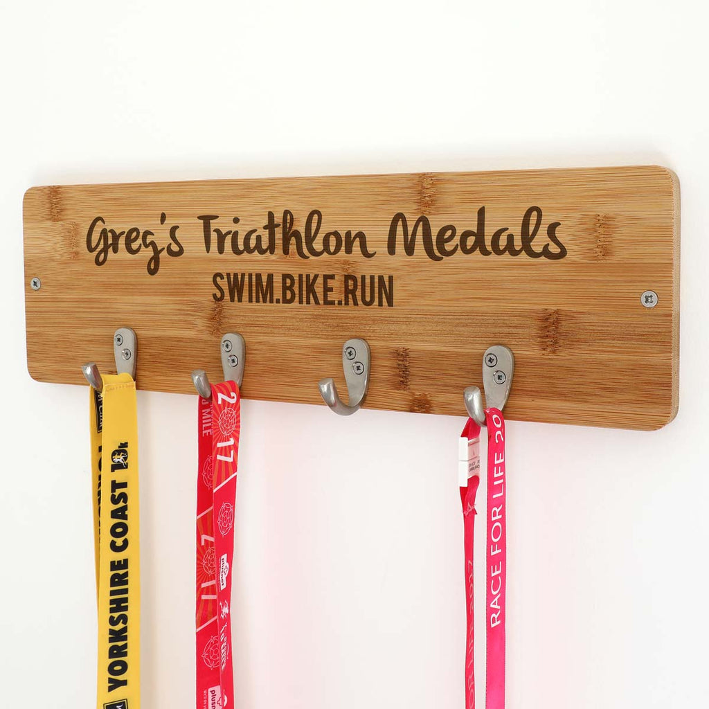 Personalised Triathlon Medal Holder