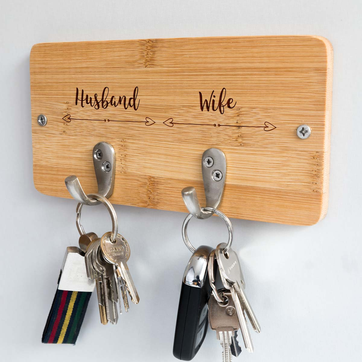 Husband & Wife Bamboo Key Hook Wedding Gift