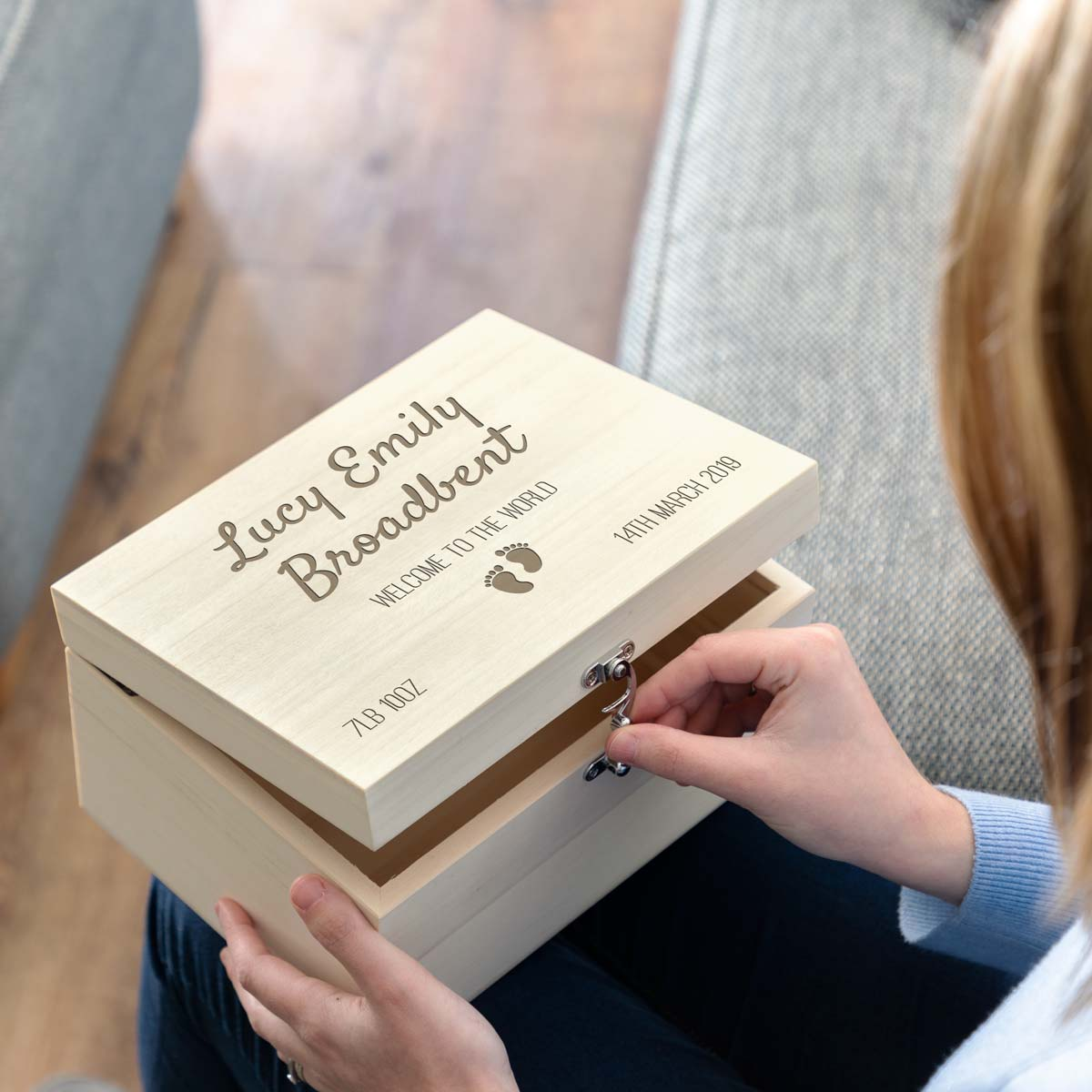 Personalised New Baby Keepsake Box