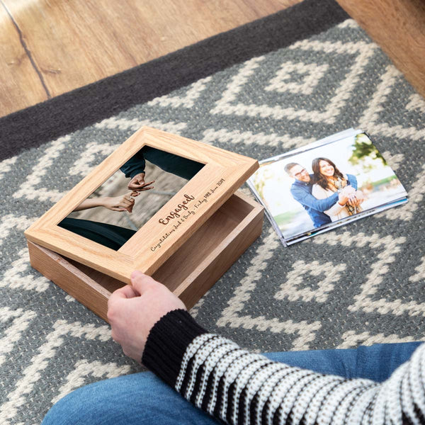 Personalised Engagement Gift Photo Keepsake Box