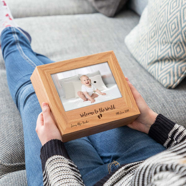 Personalised New Baby Photo Keepsake Box