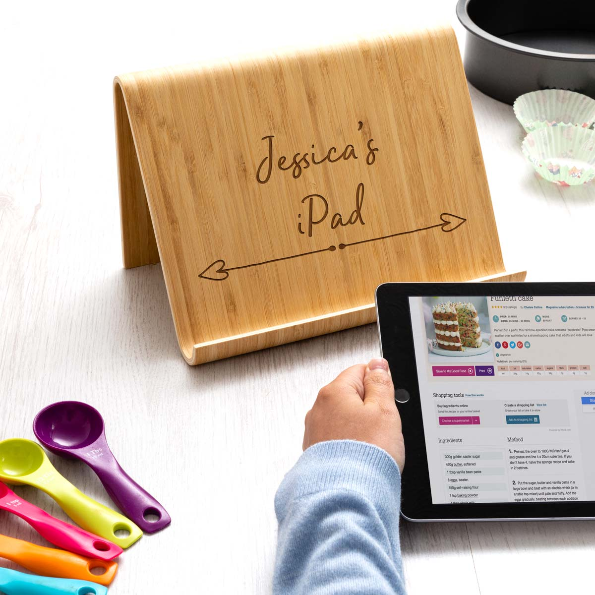 Personalised Bamboo Tablet Stand