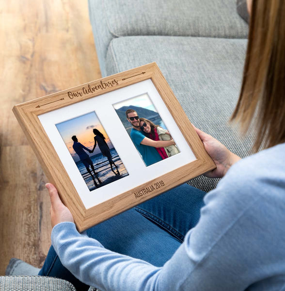 Personalised Our Adventures Oak Photo Frame