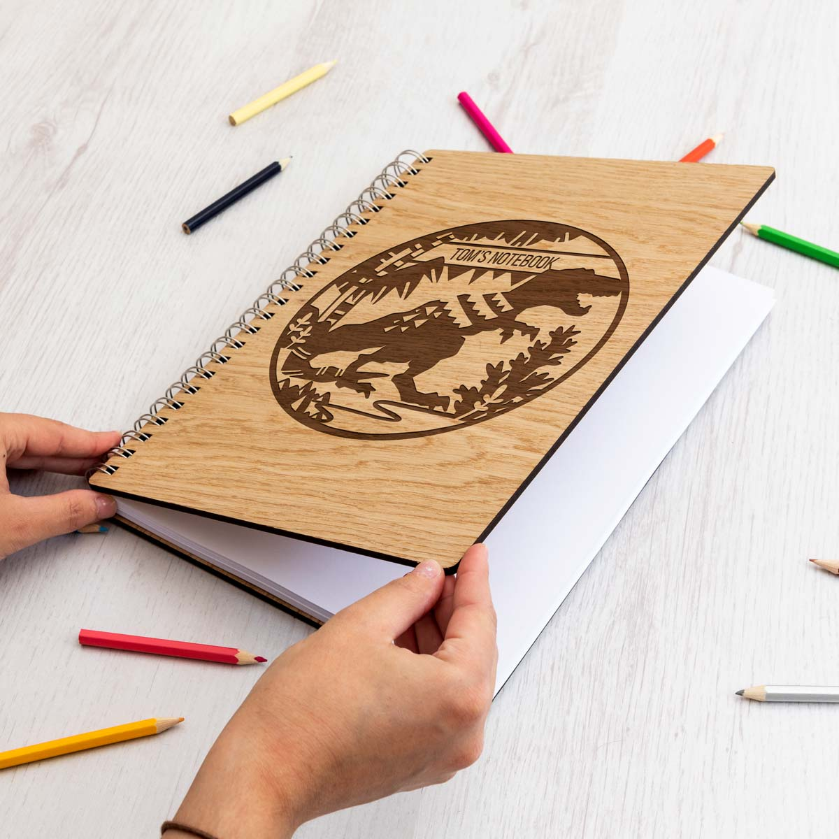 Personalised Dinosaur Wooden Notebook