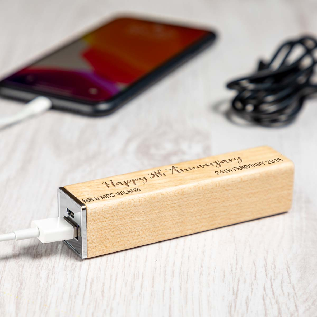 Personalised 5th Anniversary Wood Power Bank