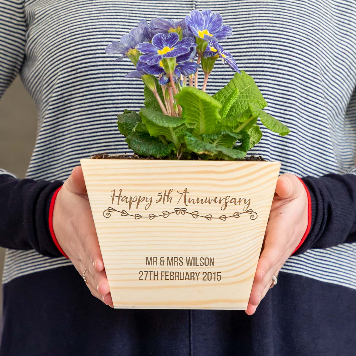 Personalised 5th Anniversary Wooden Planter