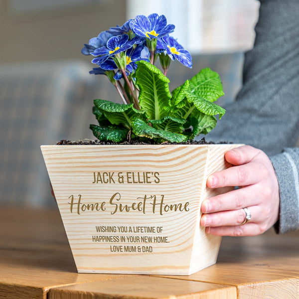 Personalised Home Sweet Home Wooden Planter