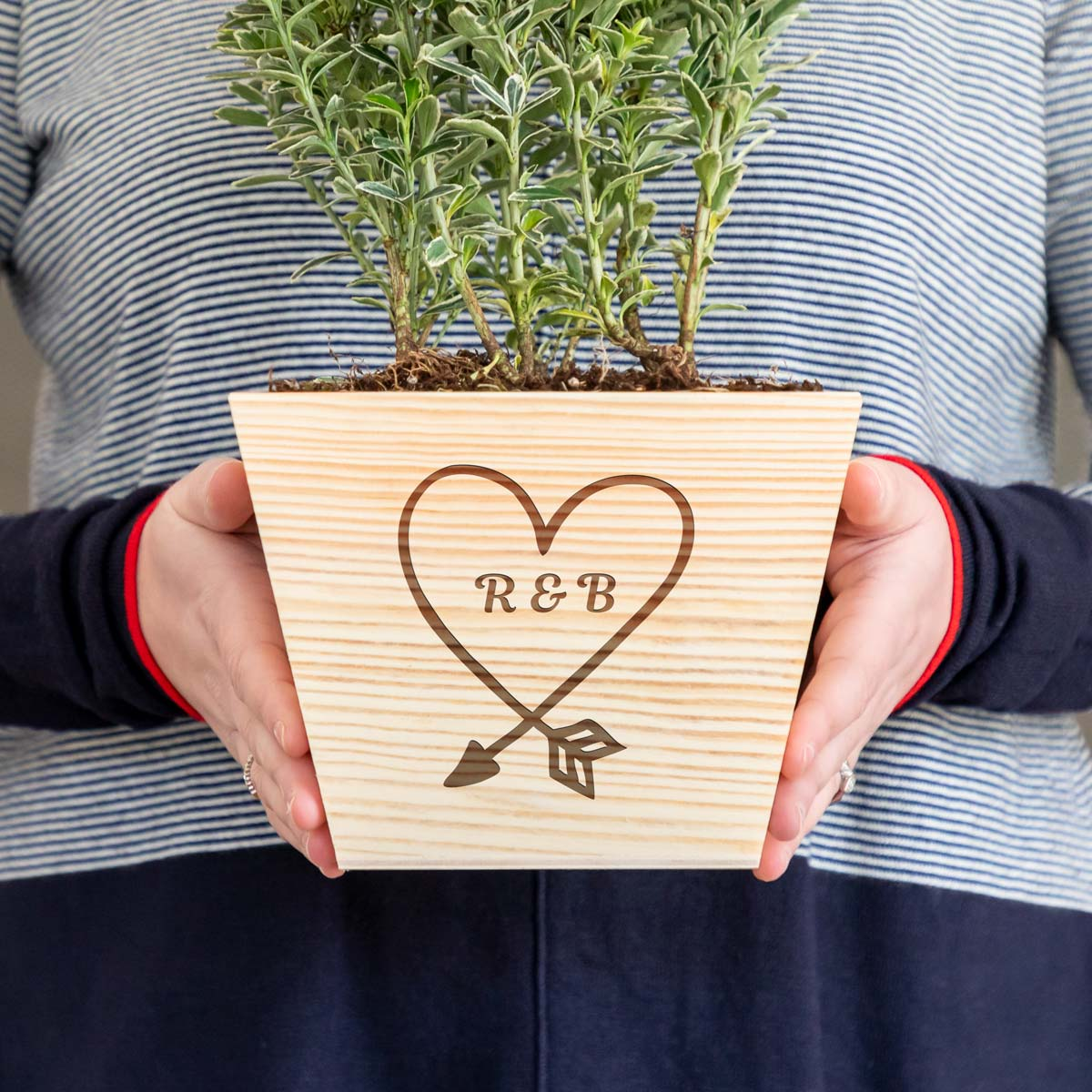 Personalised Wooden Planter With Heart