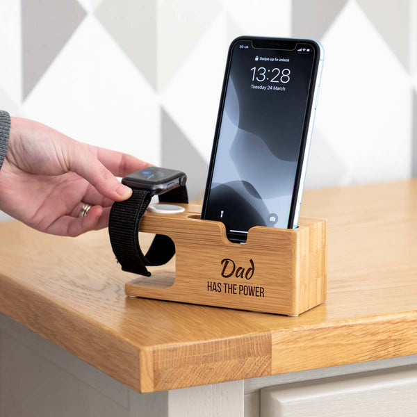 Personalised iPhone and Apple Watch Charging Station