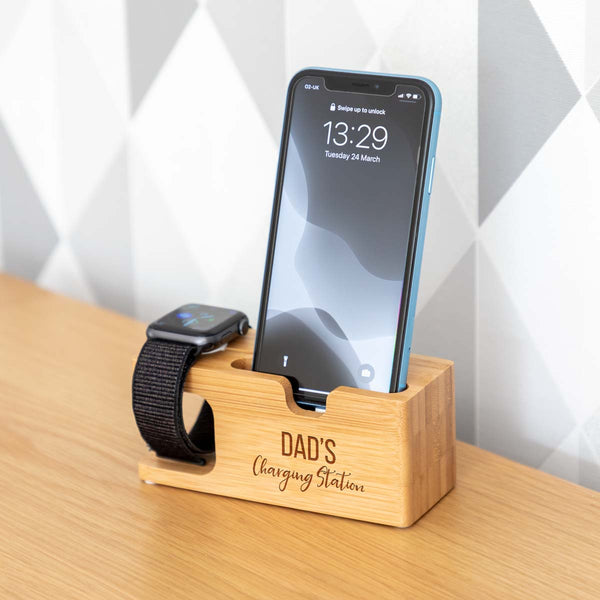 Personalised Charging Station For iPhone and Apple Watch