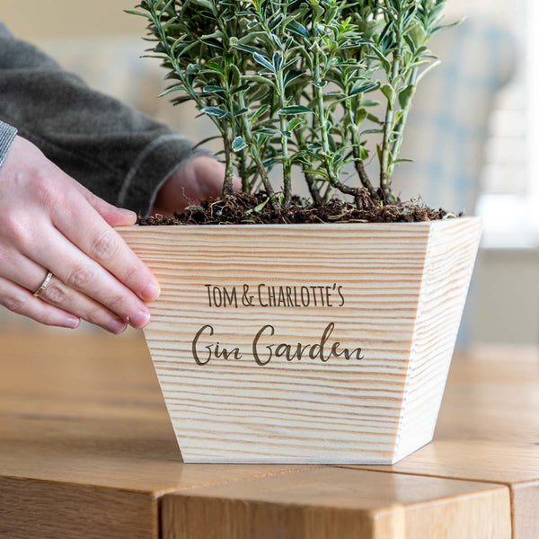 Personalised Gin Garden Wooden Planter